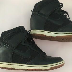 Nike Sky High Black and Mesh Wedge Sneakers